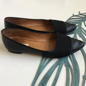 Halogen Black Leather Pointy Toe Flats Size 7.5m